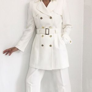 Luxurious Ivory White Coat Pants Suit 70s Inspired